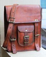 Men's Vintage Genuine Leather Laptop Backpack Rucksack Messenger Satchel Bag