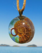 AMMONITE Positive Energy Orgone Dome Pendant with Green Aventurine and Copper.