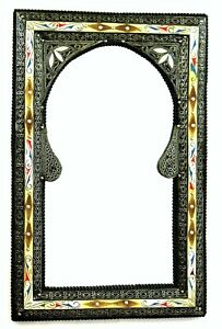 Moroccan Wall Mirror Large Authentic Home Decor Handmade Silver White Red Blue