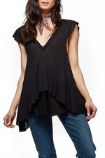 FREE PEOPLE Marry Anne Layered Tee Top, Black, Size Large, NWOT [RRP $80]