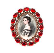 Strassbrosche Rot mit Frauenporträt · Unikat aus Gablonz/Böhmen · #1034
