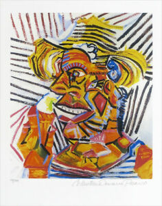 PABLO PICASSO Man With Straw Hat Limited Edition Giclee Estate Signed 20x13