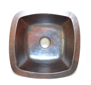 15-inch Square Copper Sink Handmade, Hand Made Copper Sink, Hammered Copper Sink