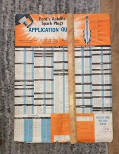 Vintage Original FORD'S AUTOLITE SPARK PLUGS Application Guide Poster Old Used