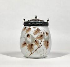 Victorian Meriden Silverplate & Painted Art Glass Cracker / Biscuit Jar