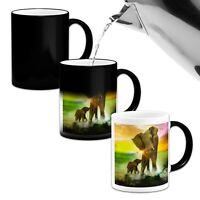 Elephant Family Beautiful .Novelty Heat Colour Changing Mug