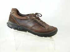 Ecco Size 12 M Brown Leather Lace Up Moc Toe Sneakers Casual Dress Mens Shoes