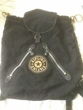 Kipling Black Nylon Backpack Napsack Flip Top Drawstring