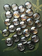 Glass Elder Futhark Runes - with Bag & Information sheet - Wicca, Engraved