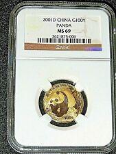 CHINA, 2001D 1/4 oz Gold Panda, 100Y, NGC MS-69, RARE!