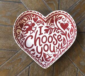 Crate & Barrel Folk I Choose You Kate Forrester Valentine Heart Ceramic Plate