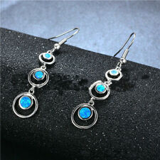 1 Pair Woman fashion 925 Silver Jewelry Blue Fire Opal Charm Earring Pendant ~~!