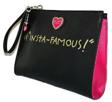 NWT Betsey Johnson Clutch Black & Pink Faux Leather Insta-Famous Wristlet Purse