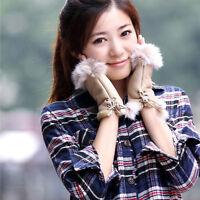 Chic Women's Rabbit Fur winter leather Warm Fingerless Gloves Warmer