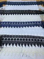 NEW GUIPURE  LACE TRIM  BLACK/WHITE /CREAM 3 1/2  INCH WIDE FROM £1.00 mt freepp