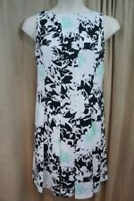 Nine West Dress Sz 14 Black Aqua Multi Floral Pleated Career Casual Dress