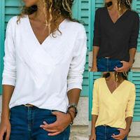 New Women Plain Long Sleeve Casual Jersey V Neck Basic T-Shirt Tee Top Size 8-26