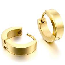 MENDINO Men's Stainless Steel Stud Hoop Earrings Charm Elegant Silver Gold Black
