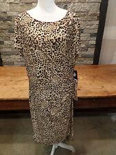 Jones New York Woman Dress Leopard Print Short Sleeve Stretch Women's 20W $144