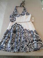 Nine West Womens Sz 12 Flare Dark Blue White Floral Print Dress Sundress $134.00