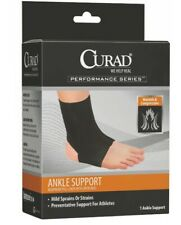 Curad Neoprene Pull-Over Ankle Support with Open Heel Ankle brace Black-Medium