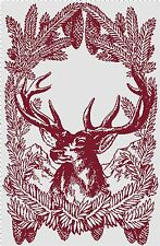 Christmas Reindeer and Pinecone Silhouette DIGITAL Counted Cross-Stitch Pattern