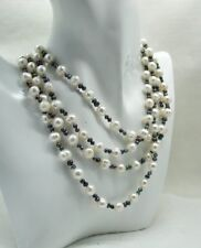 Beautiful 64 Inch Long Single Strand Of White And Grey Freshwater Pearls