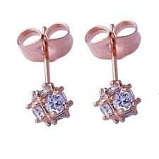Vintage Womens 14K Rose Gold Filled Lucky Ball Clear CZ Small Stud Earrings
