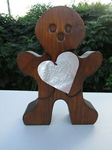 Gingerbread Man Wood Puzzle Large 3 Piece With Tin Heart - Home Decoration
