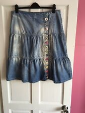 Per Una Size 16 Quirky Denim Gypsy Boho Hippy Skirt ⭐️