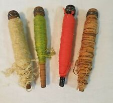 Four Vintage Partial Wooden Textile Spools of Lighter Weight Yarn