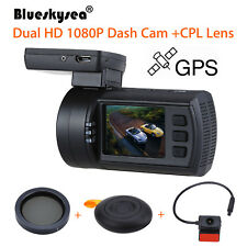 Mini 0906 Dual 1080P Lens Car Dash Camera GPS DVR Cam Night Vision + CPL Filter