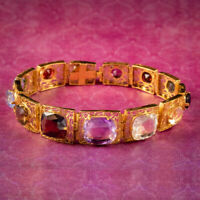 ART DECO GEMSTONE BRACELET SILVER 18CT GOLD GILT CIRCA 1920