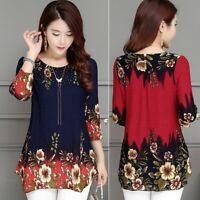 Women Long Sleeve Chiffon Round Neck Pullover Sweatshirt Blouse Tops Shirt Hot