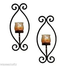 2 Rustica Wall Sconce Glass Tealight Candle holder Set Metal Scroll Accent Decor