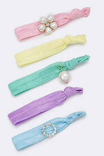 5 Piece Pink, Yellow, Purple, Green and Blue Crystal & Pearls Hair Tie Set