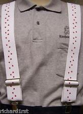 """Suspenders 2""""x48"""" FULLY Elastic Valentine Hearts NEW Red on White"""