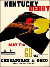 Kentucky Derby Horse Race Vintage Railroad Travel Advertisement Art Poster Print