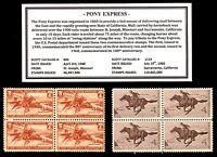 1940 - 1960 - PONY EXPRESS -  Blocks of Four Vintage U.S. Postage Stamps