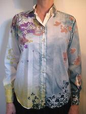 Etro Size 38 or 8 White Cotton Floral Button Blouse