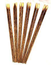 Vintage Chopsticks Kitchenware Handmade Coconut Brown Wooden Souvenir 6 Pairs