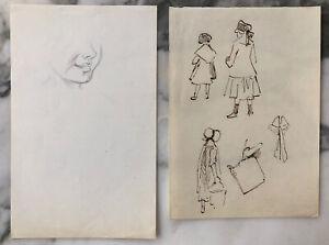 Two Paul Gavarni (Paris 1804-1866) Drawings: Smile Etude, Figure Study, ca. 1830