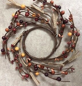 "DLCC~4"" candle ring tan/ brown/rust Pip Berry burlap Primitive 12"" wide"