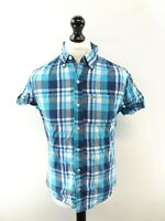 HOLLISTER Mens Shirt Short Sleeve S Small Blue Check Cotton