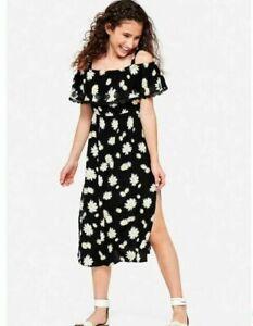 Justice Girl's Black Daisy Floral Off Shoulder Maxi Dress Size 6 EUC