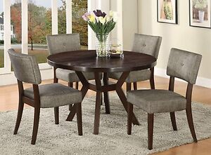 Modern Espresso Gray Table and Chair Kitchen Dining Set Grey