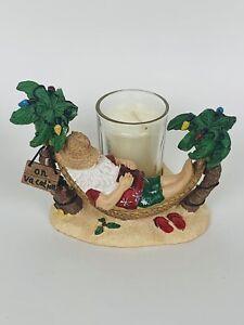 Yankee Candle Santa On Vacation Hammock Christmas Beach Votive Tea Light Holder