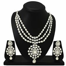 Exquisite Fashion Silver Plated Necklace Earrings Wedding & Bridal Jewelry Set