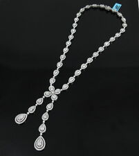 Rare 34.02ct Round & Pear Shape Diamond 18K White Gold Y Drop Necklace