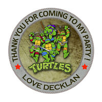 """30 x Personalised Ninja Turtles Round  50mm 2"""" Party Stickers thank you labels"""